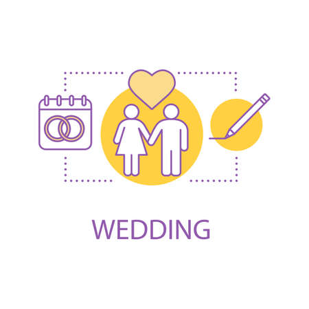 Wedding concept icon. Engagement idea thin line illustration. Vector isolated outline drawing