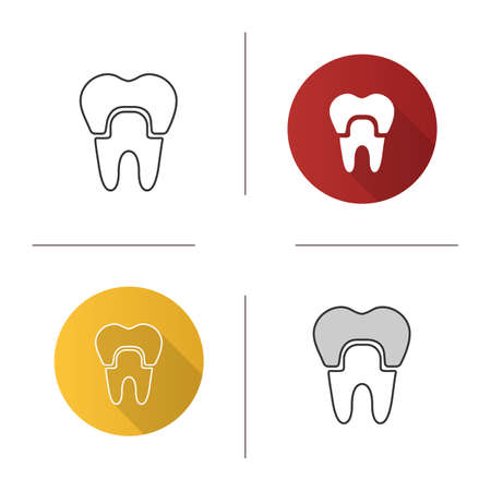 Dental crown icon. Tooth restoration. Flat design, linear and color styles. Isolated vector illustrations