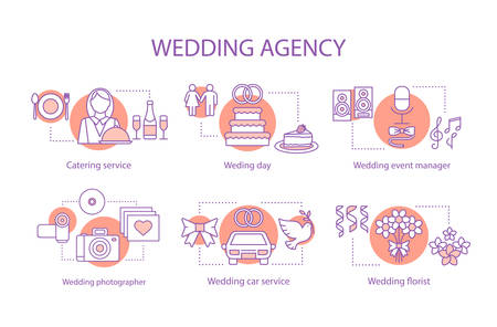 Wedding agency concept icons set. Catering, photography, car, flower delivery services idea thin line illustrations. Vector isolated outline drawings