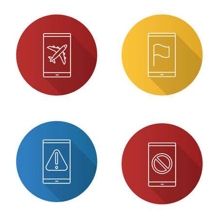 Smartphone apps flat linear long shadow icons set. Flight mode, GPS navigator, error, no signal sign. Vector outline illustration Vectores