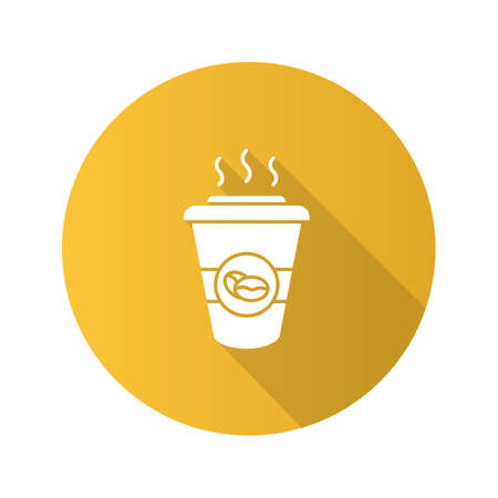 Coffee to go flat design long shadow glyph icon. Disposable coffee cup with lid. Vector silhouette illustration