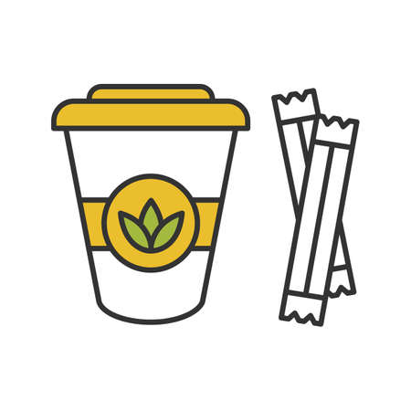 Tè per andare con l'icona di colore di bustine di zucchero. Tazza da tè usa e getta con coperchio. Illustrazione vettoriale isolato