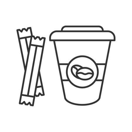 Caffè da andare con l'icona lineare di bustine di zucchero. Illustrazione al tratto sottile. Tazza da caffè usa e getta con coperchio. Simbolo di contorno. Illustrazione di contorno isolata di vettore Vettoriali