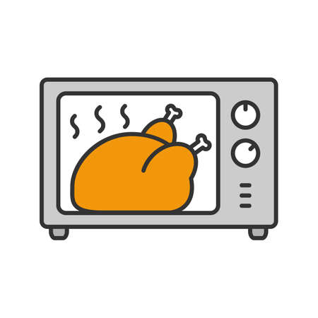 Whole chicken grilling in microwave oven color icon. Thanksgiving turkey. Isolated vector illustration