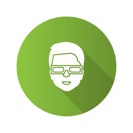 Man with polarized 3D glasses flat design long shadow glyph icon. Anaglyph glasses. Vector silhouette illustration Illustration