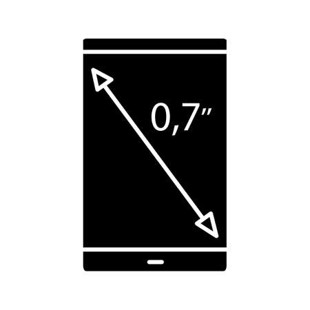 Smartphone screen size glyph icon. Display diagonal inch size. Silhouette symbol. Negative space. Vector isolated illustration