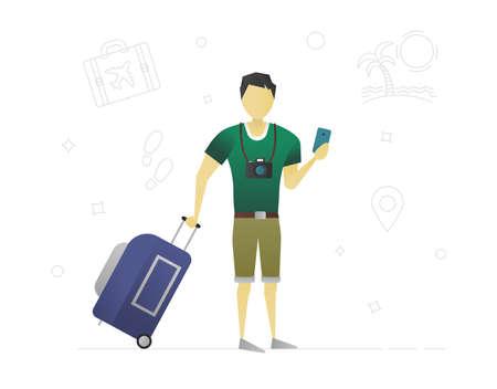 Design del personaggio piatto del viaggiatore. Turista. Fotografo. Uomo con bagaglio e macchina fotografica. Illustrazione vettoriale isolato