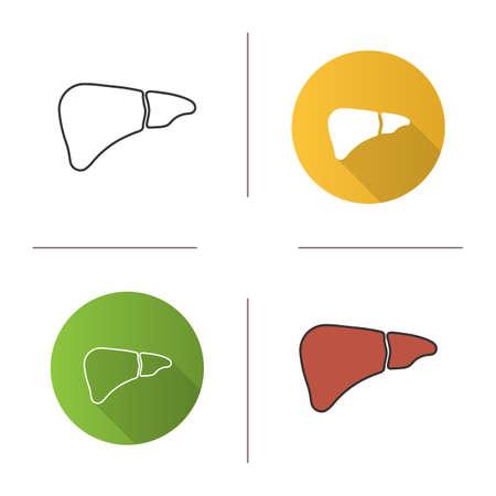 Icono de hígado. Glándula digestiva. Diseño plano, estilos lineales y de color. Ilustraciones vectoriales aisladas Ilustración de vector