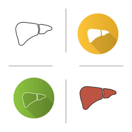 Liver icon. Digestive gland. Flat design, linear and color styles. Isolated vector illustrations