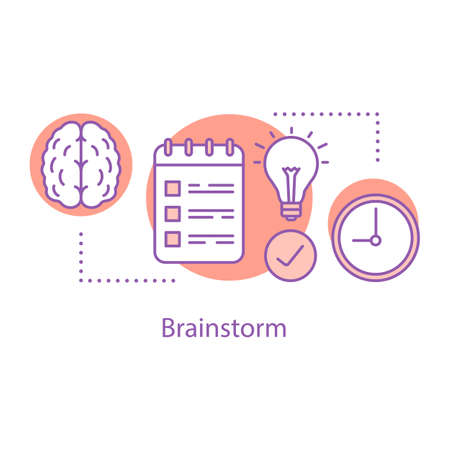 Brainstorm concept icon. Generating idea. Thinking process idea thin line illustration. Problem solving. Vector isolated outline drawing