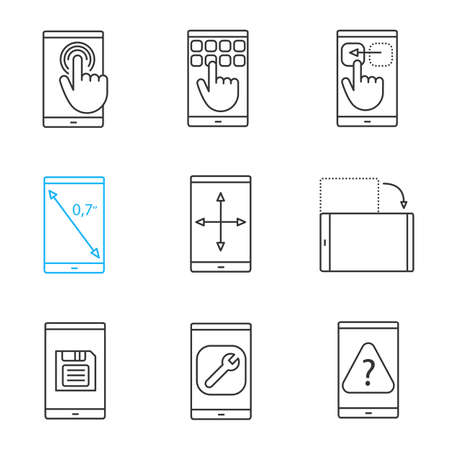Smartphone linear icons set. Touchscreen, keypad, drag gesture, display rotation, inch size, screen resize, save button, settings, FAQ. Thin line contour symbols. Isolated vector outline illustrations Illustration