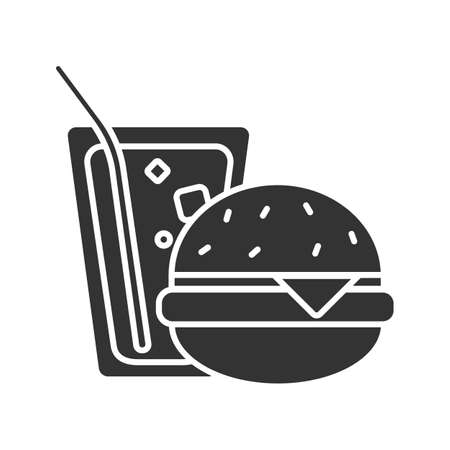 Burger and soda glyph icon. Fast food. Sandwich with lemonade. Silhouette symbol. Negative space. Vector isolated illustration 일러스트