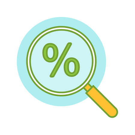Magnifying glass with percent color icon. Discount offers searching. Isolated vector illustration Stock Illustratie