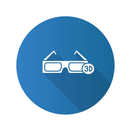 3D glasses flat design long shadow glyph icon. Polarized anaglyph glasses. Vector silhouette illustration