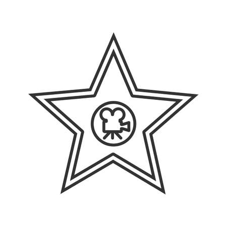 Movie star plaque linear icon. Thin line illustration. Contour symbol. Vector isolated outline drawing