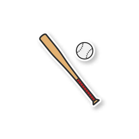 Baseball bat and ball patch. Color sticker. Softball players equipment. Vector isolated illustration