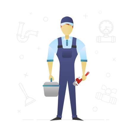 Conception de personnage plat plombier. Technicien sanitaire. Illustration vectorielle isolée Vecteurs