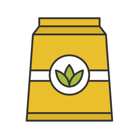 Tea paper package color icon. Isolated vector illustration