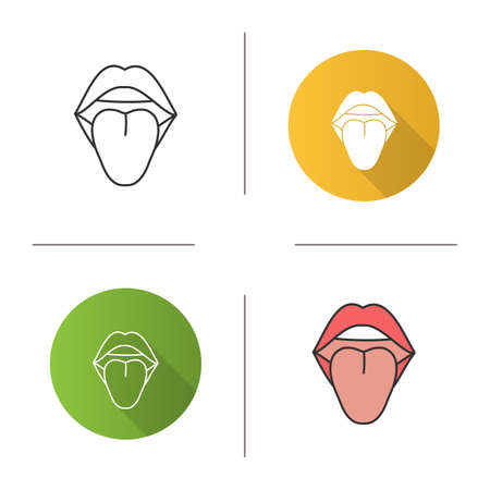 Open female mouth icon. Tongue. Oral cavity. Flat design, linear and color styles. Isolated vector illustrations
