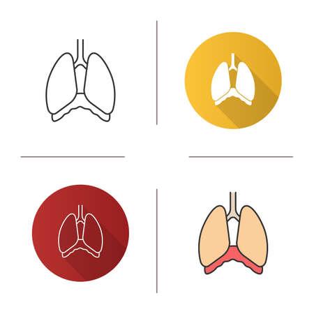 Icône de la cavité thoracique. Diaphragme. Poumons humains. Design plat, styles linéaires et couleurs. Illustrations vectorielles isolées