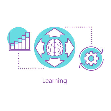 Learning concept icon. Thinking process. Broaden mind idea thin line illustration. Generating idea. Vector isolated outline drawing