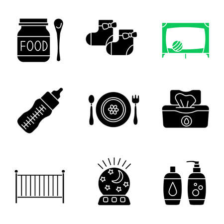 Childcare glyph icons set. Baby food, socks, playpen, feeding bottle, dishes, wet wipes, crib, night light, shampoo and soap. Silhouette symbols. Vector isolated illustration