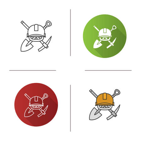 Crossed shovel and pickaxe with hard hat icon. Mining emblem. Flat design, linear and color styles. Isolated vector illustrations