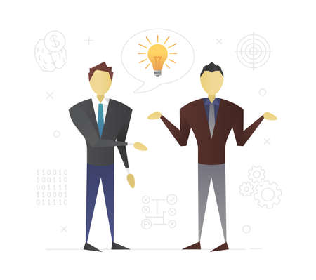 Businessmen discussing business idea flat character design. Startuppers. Business partners making decision or solving problem. Coworking. Vector isolated illustration Illustration