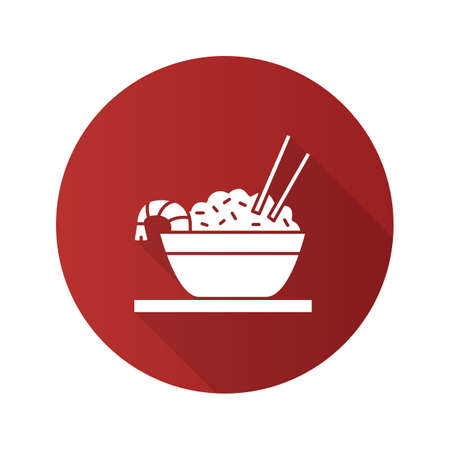 Rice with shrimps flat design long shadow glyph icon. Chinese fried rice in bowl and chopsticks. Vector silhouette illustration