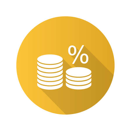 Coin stack with percent flat design long shadow glyph icon. Interest rate. Banking. Saving money. Vector silhouette illustration