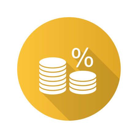 Pila di monete con icona del glifo con ombra lunga design piatto per cento. Tasso d'interesse. Bancario. Risparmiare soldi. Illustrazione di sagoma vettoriale