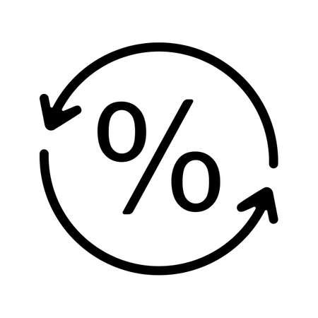 Icono de glifo de conversión de porcentaje. Tasa de reembolso. Símbolo de silueta. Espacio negativo. Vector ilustración aislada