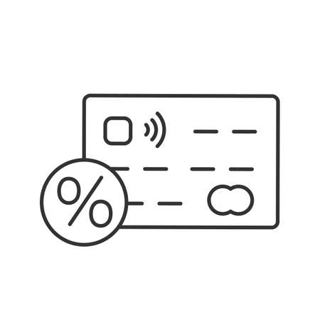 Credit card interest rate linear icon. Thin line illustration. Credit card with percent. Contour symbol. Vector isolated outline drawing Illustration