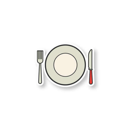 Eatery patch. Fork, table knife and plate. Tableware set. Color sticker. Vector isolated illustration Çizim