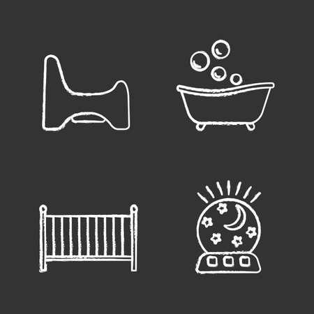 Childcare chalk icons set. Potty chair, bathtub, crib, night light. Isolated vector chalkboard illustrations  イラスト・ベクター素材