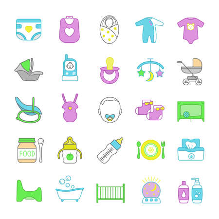 Childcare color icons set. Equipment, clothes, carriages, car seats, nutrition for babies. Isolated vector illustrations