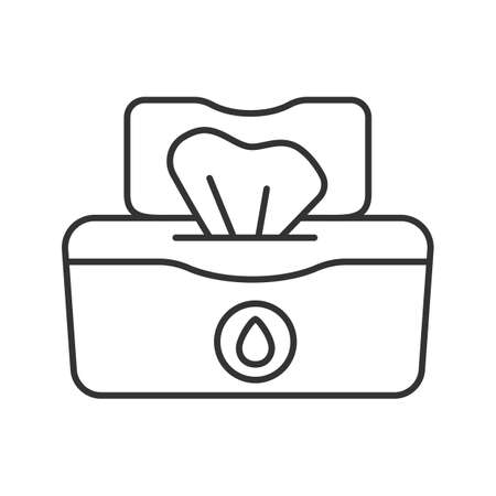 Wet wipes pack linear icon. Thin line illustration. Tissues. Antibacterial napkins. Contour symbol. Vector isolated outline drawing