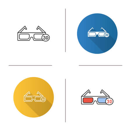 3D glasses icon. Polarized anaglyph glasses. Flat design, linear and color styles. Isolated vector illustrations Illustration