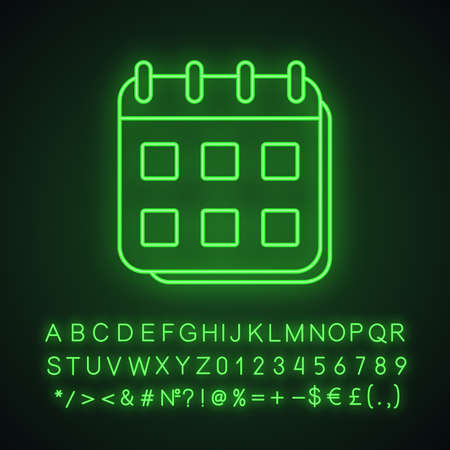 Calendar neon light icon. Schedule. Glowing sign with alphabet, numbers and symbols. Vector isolated illustration