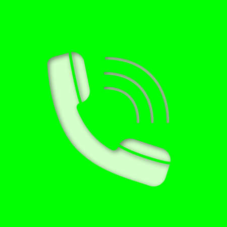 Handset paper cut out icon. Incoming call. Hotline. Telephone support. Vector silhouette isolated illustration