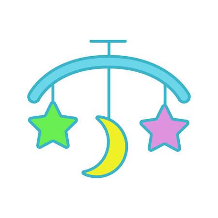 Icono de color de carrusel de cama de bebé. Sonajero colgante. Ilustración de vector aislado