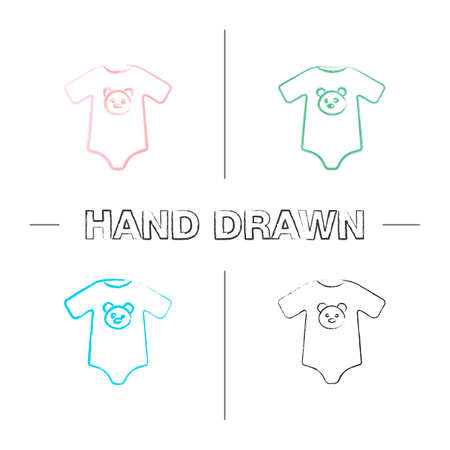 Baby bodysuit hand drawn icons set. Newborn baby clothes. Color brush stroke. Isolated vector sketchy illustrations Vettoriali
