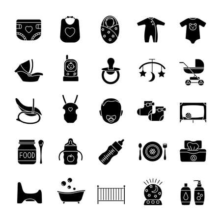 Childcare glyph icons set. Equipment, clothes, carriages, car seats, nutrition for babies. Silhouette symbols. Vector isolated illustration
