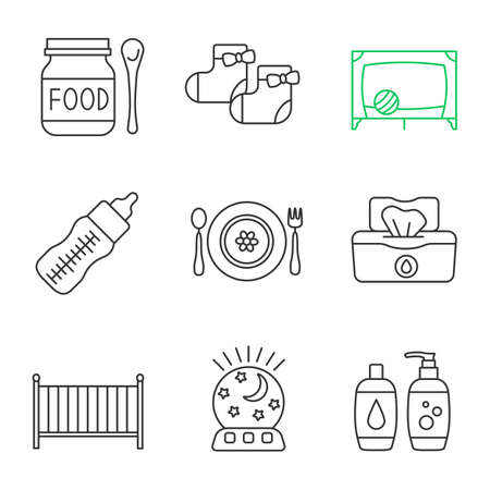 Childcare linear icons set. Baby food, socks, playpen, feeding bottle, dishes, wet wipes, crib, night light, shampoo and soap. Thin line contour symbols. Isolated vector outline illustrations Vectores