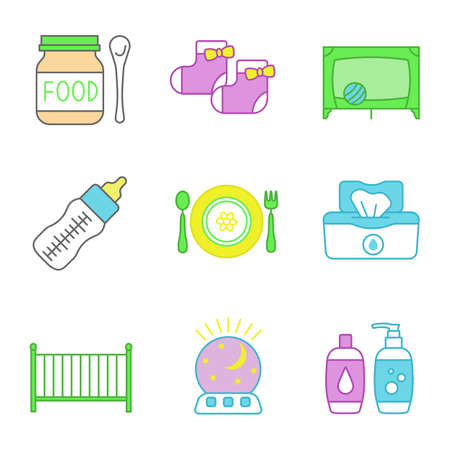 Childcare color icons set. Baby food, socks, playpen, feeding bottle, dishes, wet wipes, crib, night light, shampoo and soap. Isolated vector illustrations