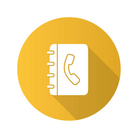 Telephone book flat design long shadow glyph icon. Phone contacts. Notepad with handset. Vector silhouette illustration
