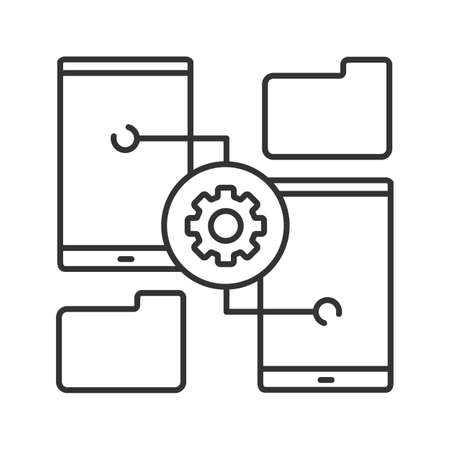Smartphone settings linear icon. Thin line illustration. File manager. Phones with cogwheel. Contour symbol. Vector isolated outline drawing Vecteurs