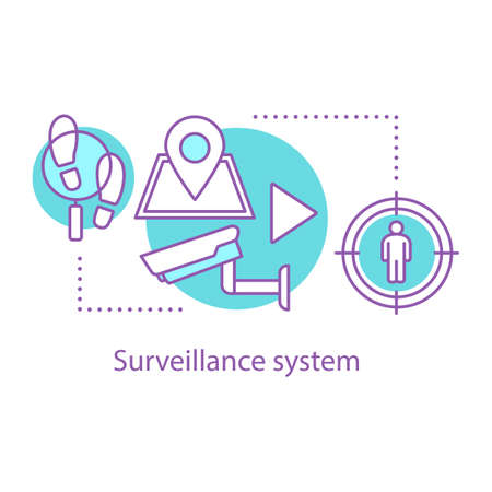 Surveillance concept icon. Security system. Idea thin line illustration. Vector isolated outline drawing