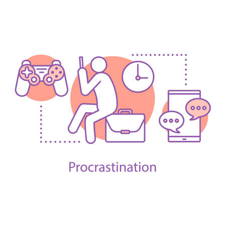 Procrastination concept icon. Wasting time  idea thin line illustration. Laziness. Vector isolated outline drawing