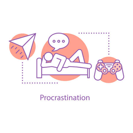 Procrastination concept icon. Wasting time  idea thin line illustration. Rest. Vector isolated outline drawing Ilustração
